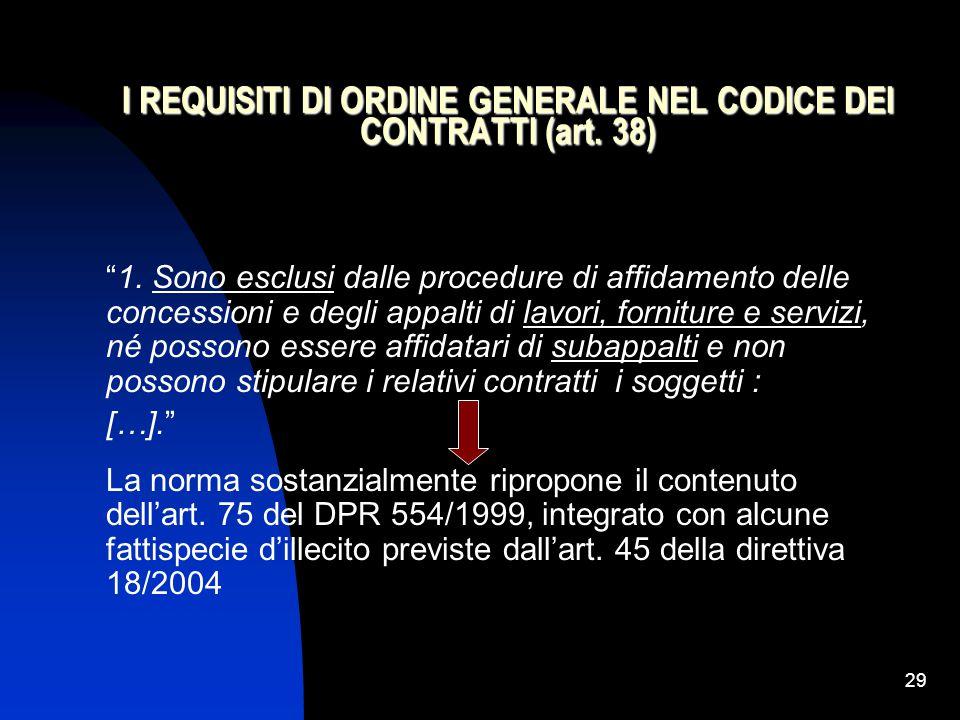 I REQUISITI DI ORDINE GENERALE NEL CODICE DEI CONTRATTI (art. 38)