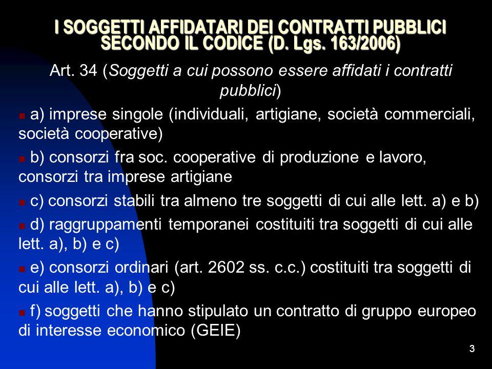 Art. 34 (Soggetti a cui possono essere affidati i contratti pubblici)