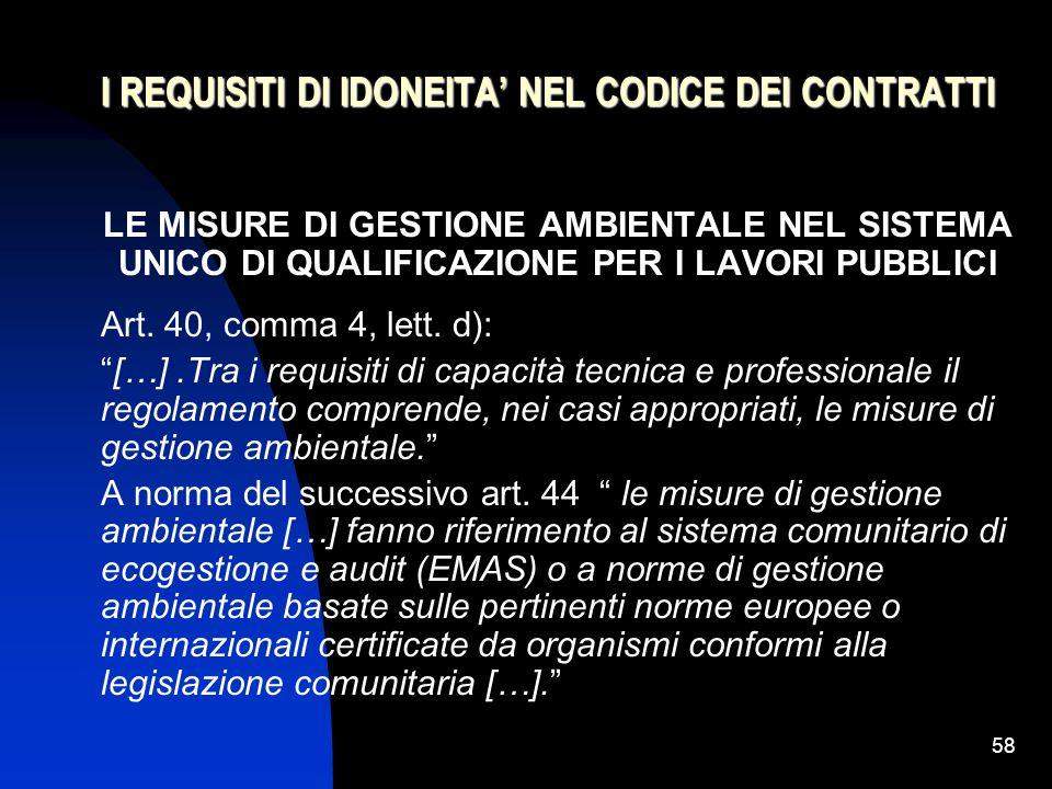 I REQUISITI DI IDONEITA' NEL CODICE DEI CONTRATTI