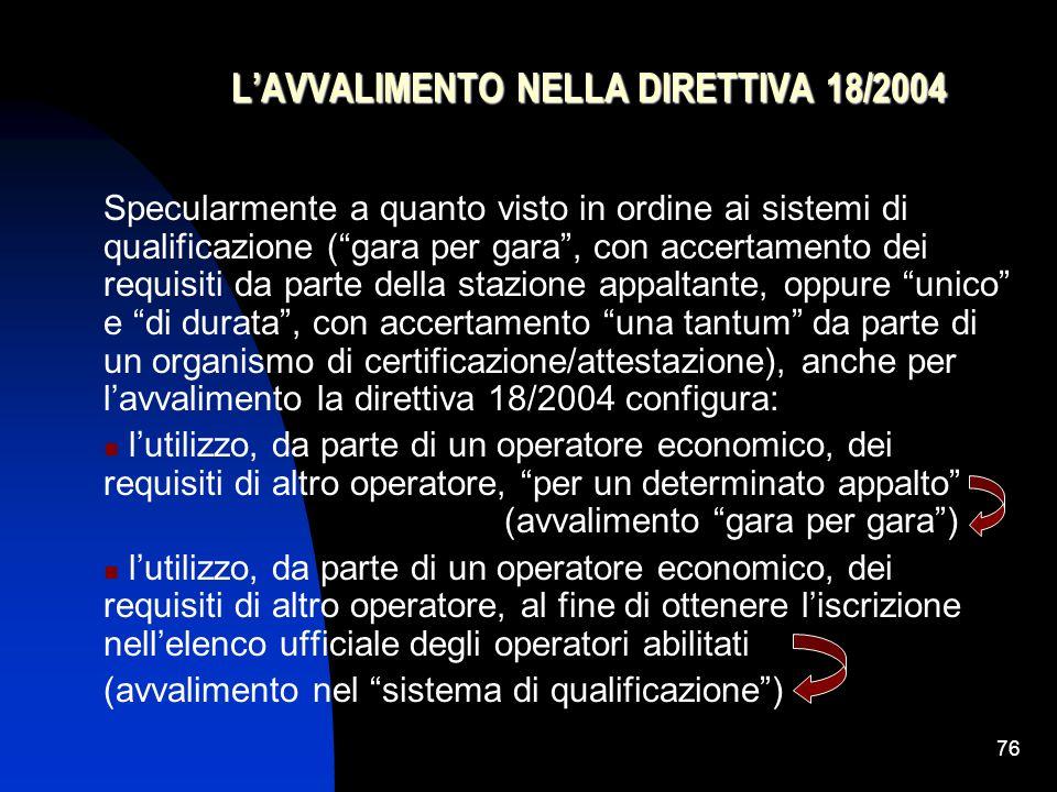 L'AVVALIMENTO NELLA DIRETTIVA 18/2004