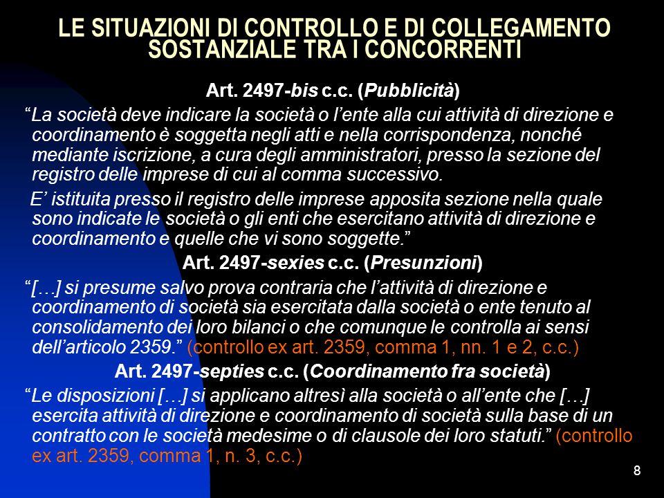 LE SITUAZIONI DI CONTROLLO E DI COLLEGAMENTO SOSTANZIALE TRA I CONCORRENTI