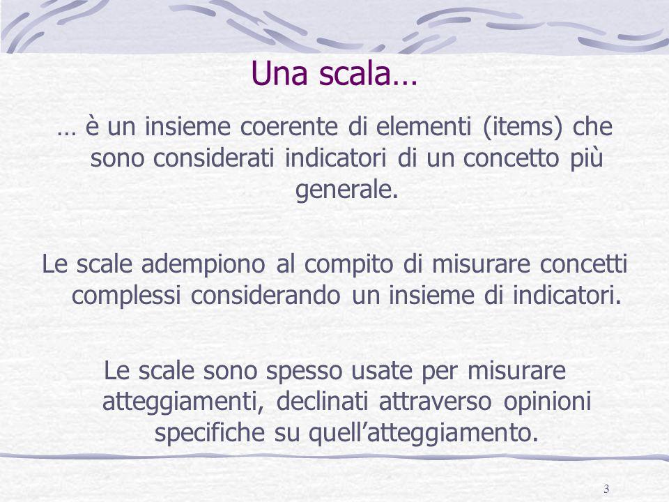 Una scala… … è un insieme coerente di elementi (items) che sono considerati indicatori di un concetto più generale.