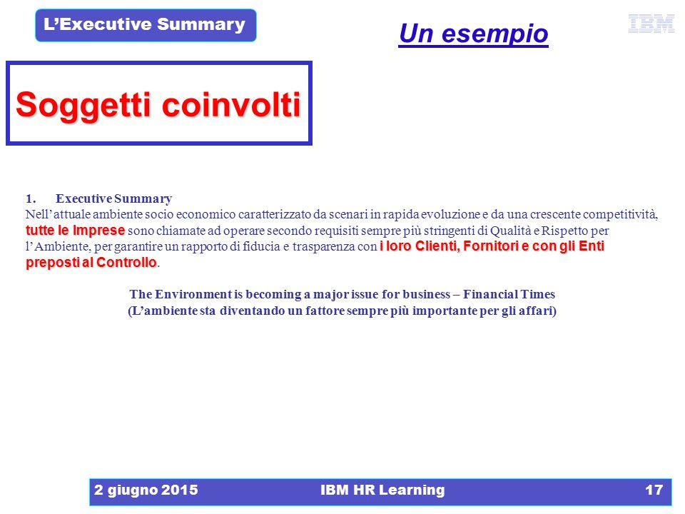 Soggetti coinvolti Un esempio 1. Executive Summary