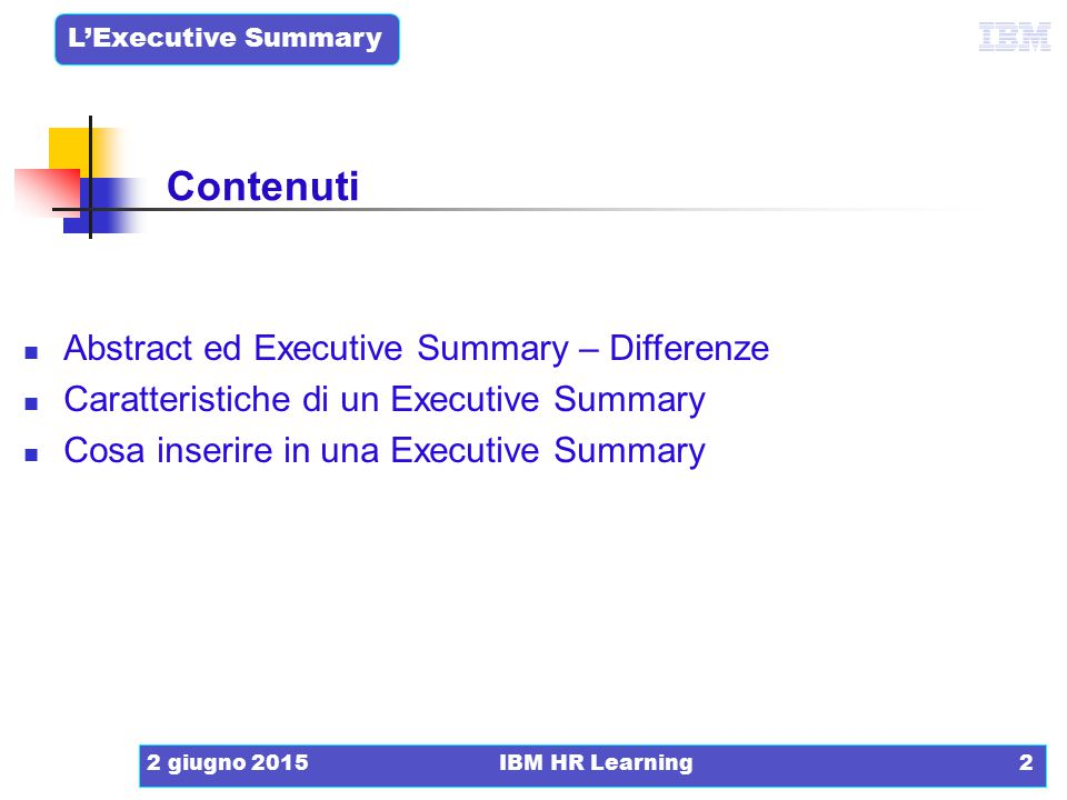 Contenuti Abstract ed Executive Summary – Differenze