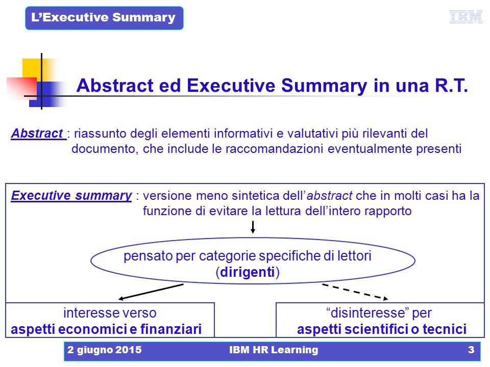Abstract ed Executive Summary in una R.T.