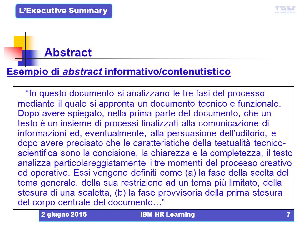 Abstract Esempio di abstract informativo/contenutistico