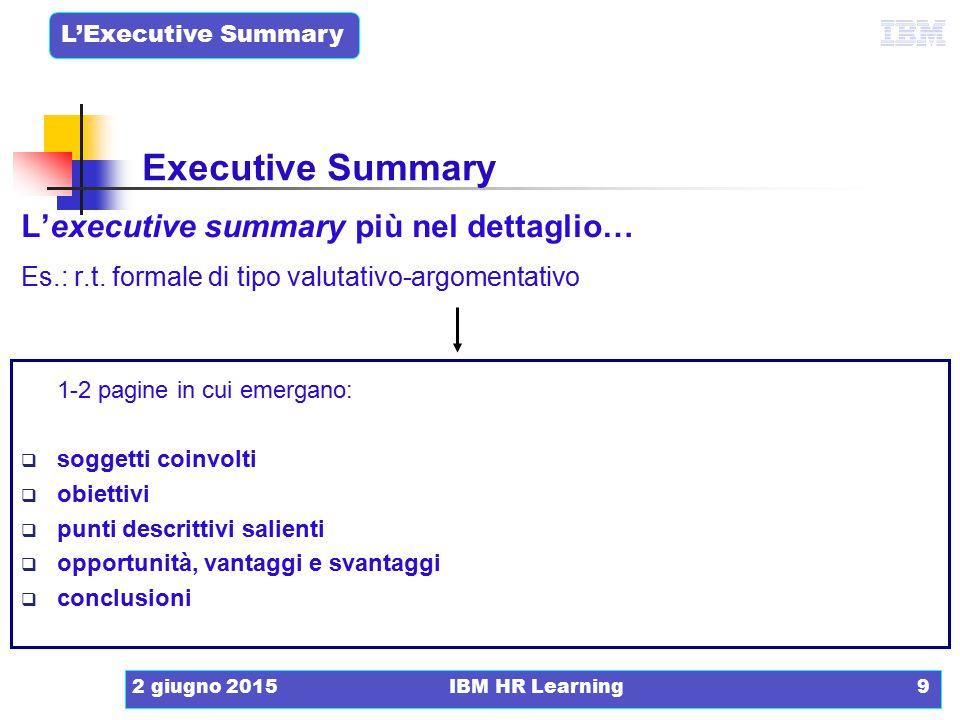 Executive Summary L'executive summary più nel dettaglio…