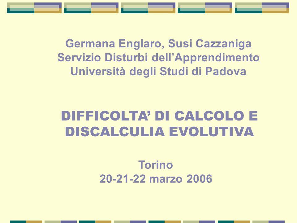 DIFFICOLTA' DI CALCOLO E DISCALCULIA EVOLUTIVA