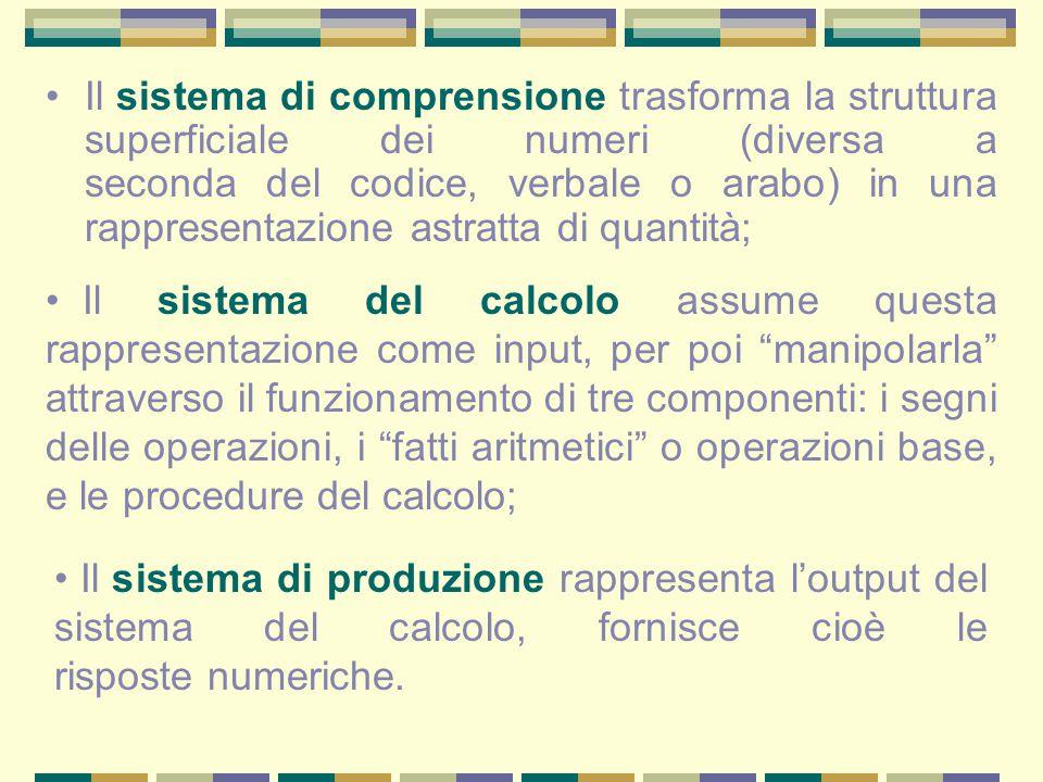 Il sistema di comprensione trasforma la struttura superficiale dei numeri (diversa a seconda del codice, verbale o arabo) in una rappresentazione astratta di quantità;