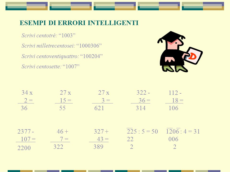34 x 27 x 27 x 322 - ESEMPI DI ERRORI INTELLIGENTI 2 = 15 = 3 = 36 =