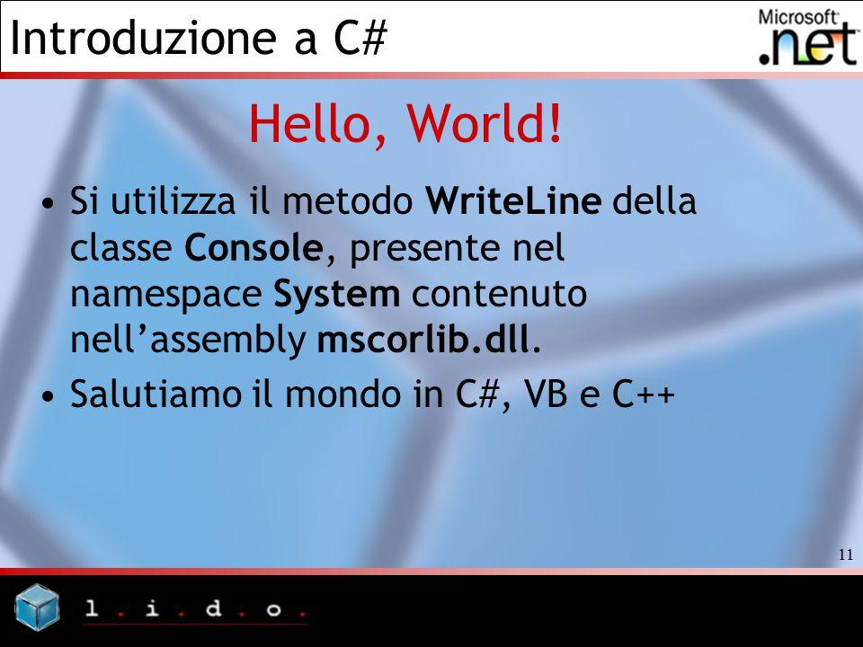 Hello, World! Si utilizza il metodo WriteLine della classe Console, presente nel namespace System contenuto nell'assembly mscorlib.dll.