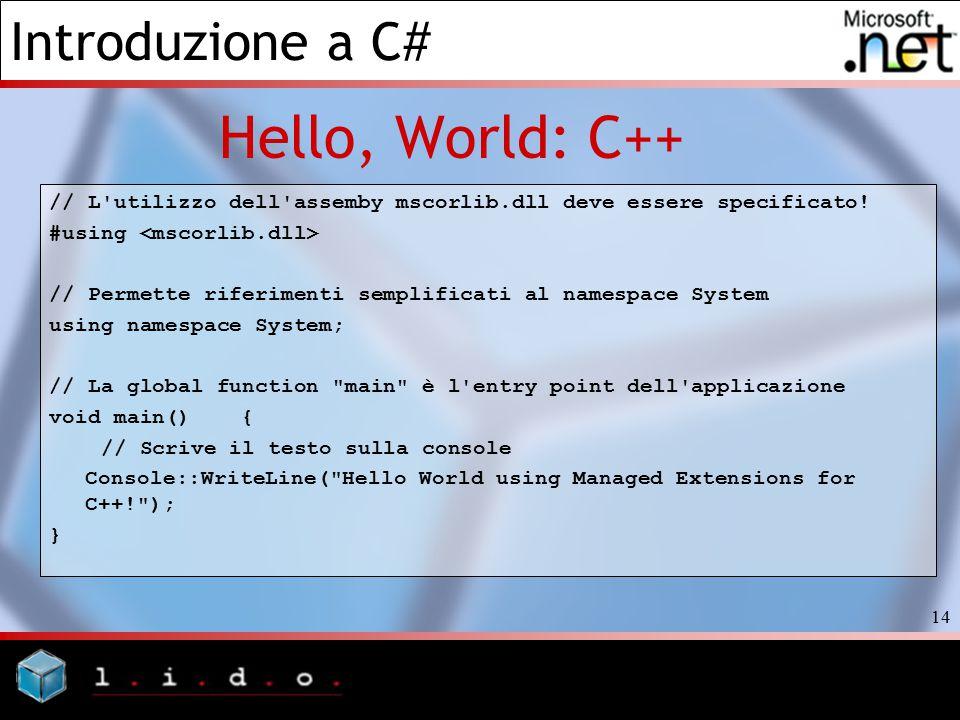 Hello, World: C++ // L utilizzo dell assemby mscorlib.dll deve essere specificato! #using <mscorlib.dll>