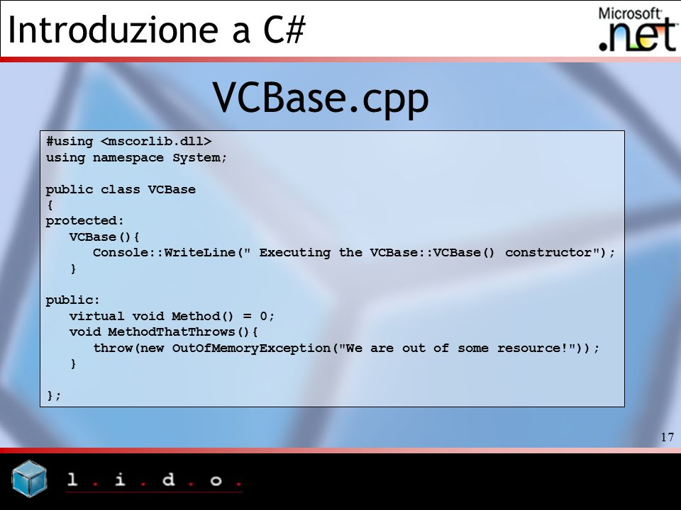 VCBase.cpp #using <mscorlib.dll> using namespace System;