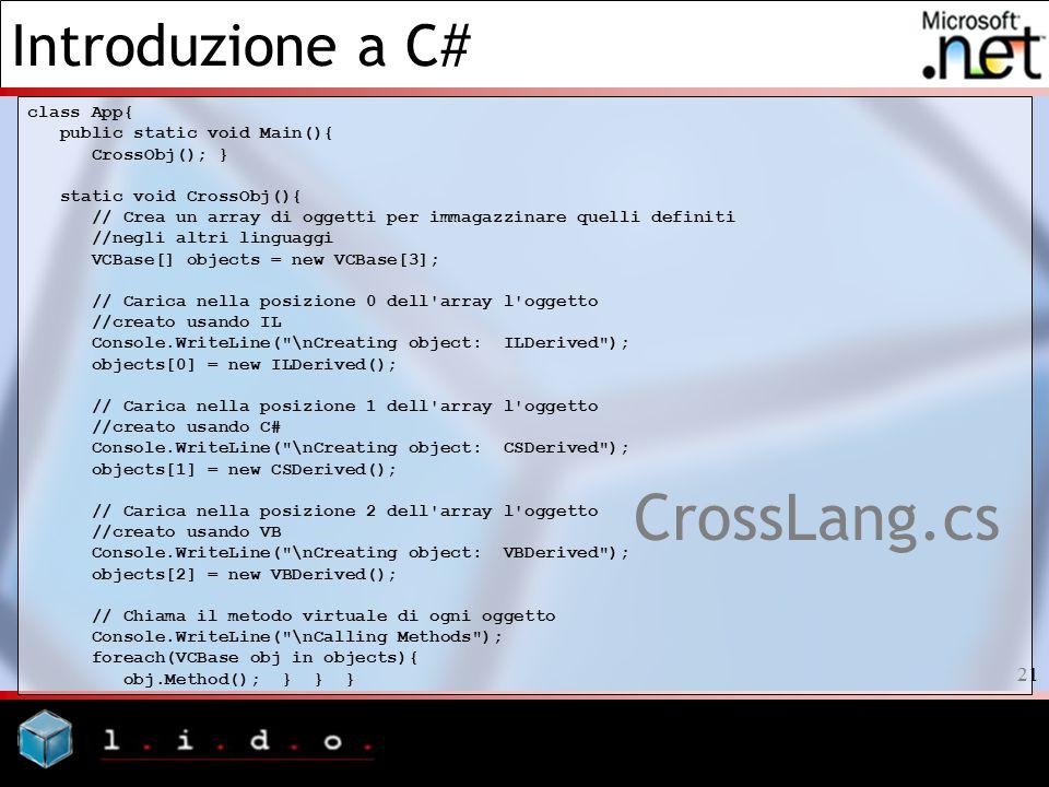 CrossLang.cs class App{ public static void Main(){ CrossObj(); }