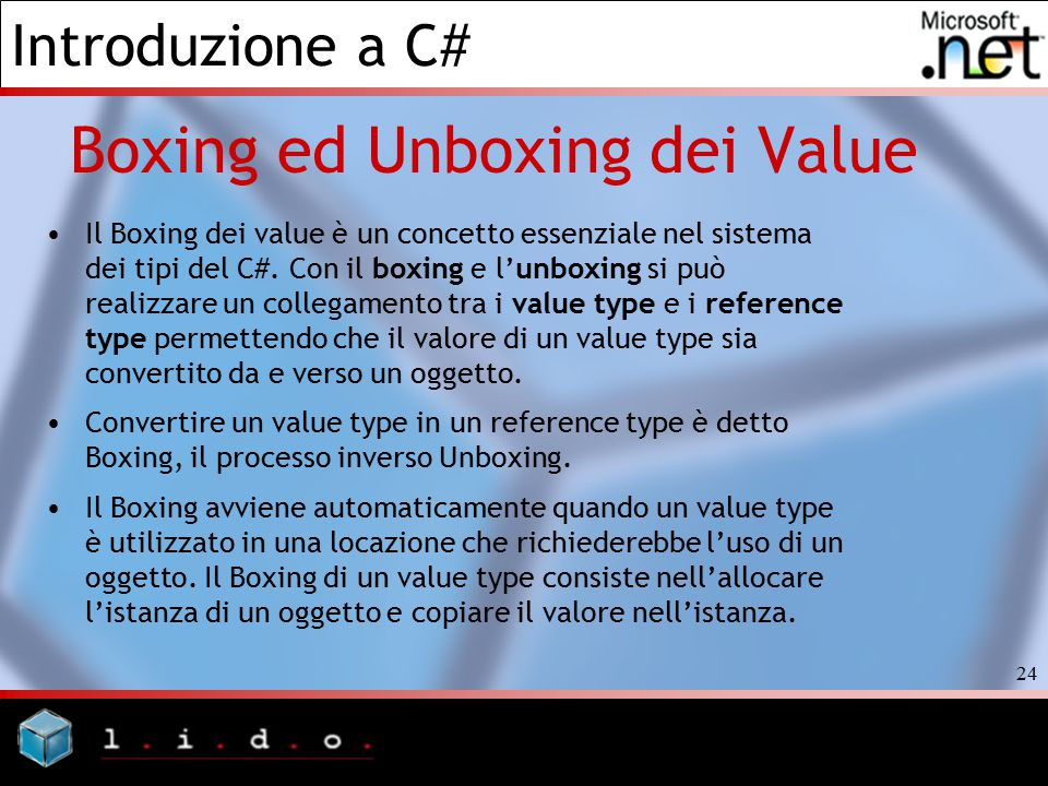 Boxing ed Unboxing dei Value