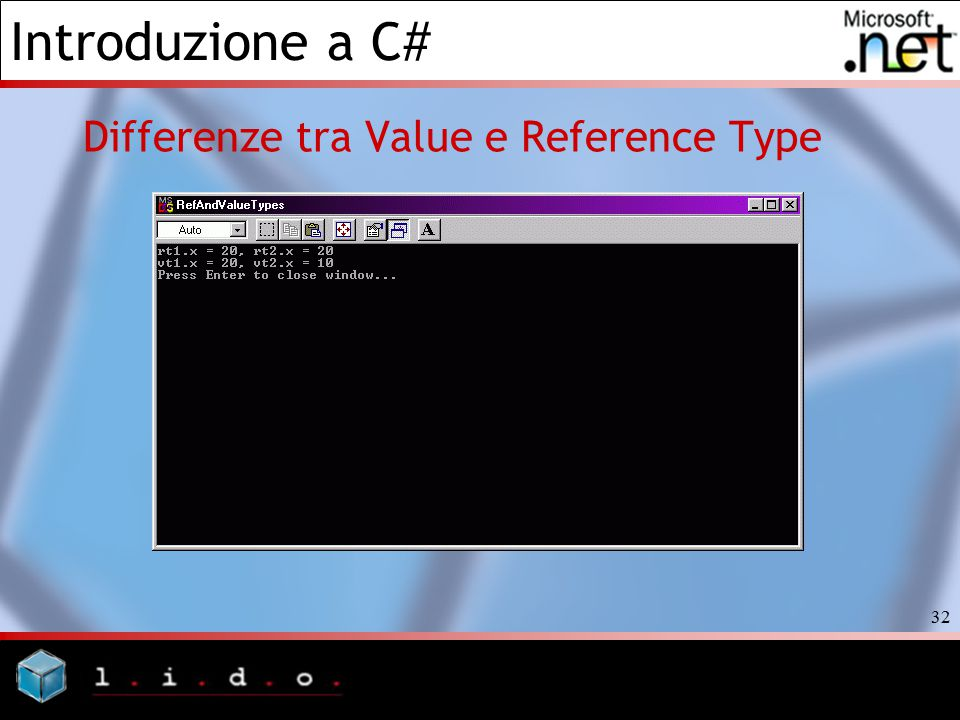 Differenze tra Value e Reference Type
