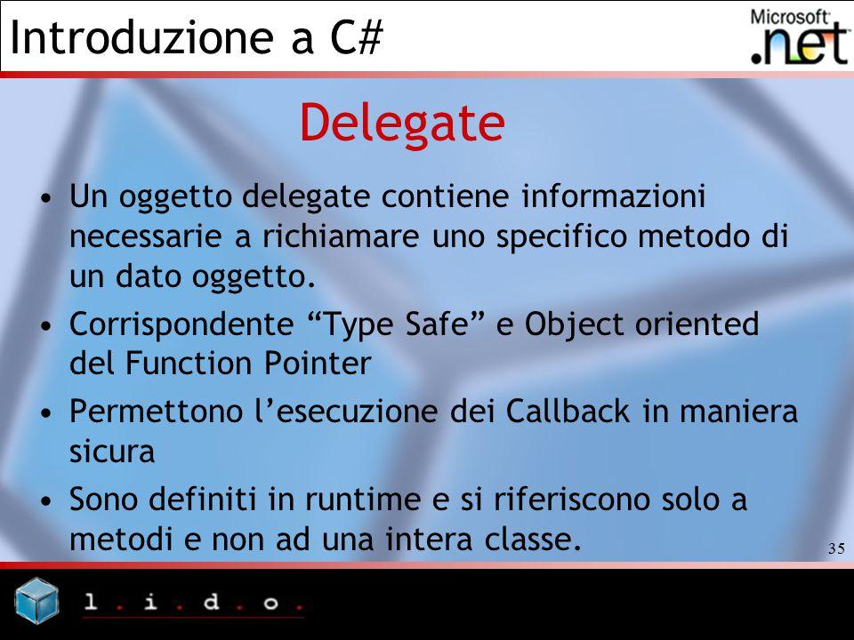 Delegate Un oggetto delegate contiene informazioni necessarie a richiamare uno specifico metodo di un dato oggetto.