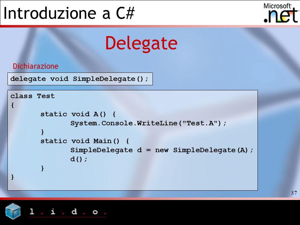 Delegate Dichiarazione delegate void SimpleDelegate(); class Test {