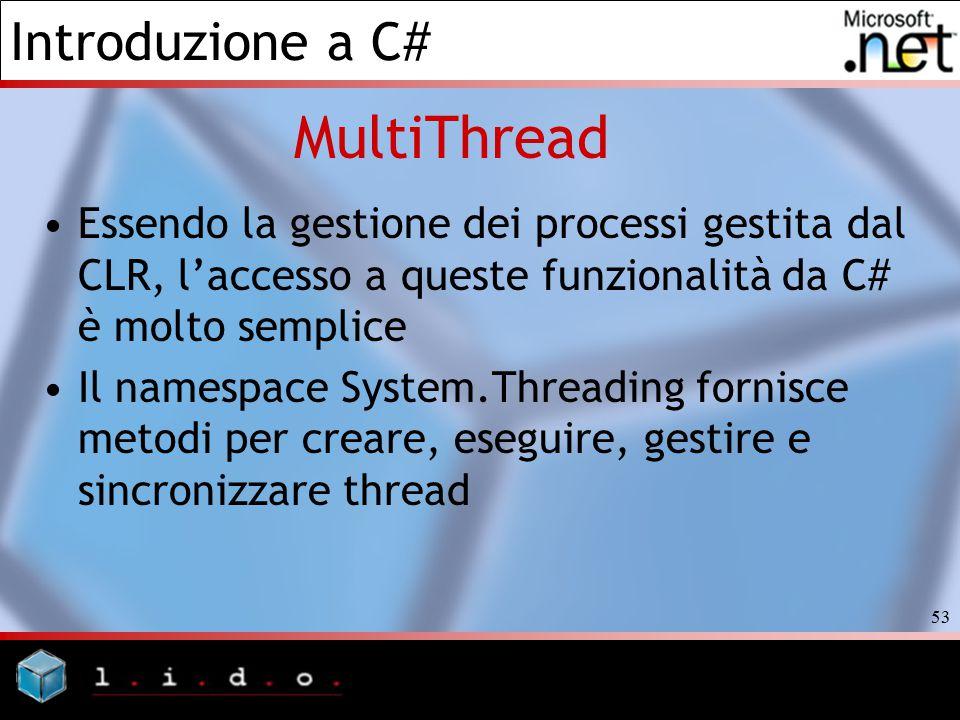 MultiThread Essendo la gestione dei processi gestita dal CLR, l'accesso a queste funzionalità da C# è molto semplice.