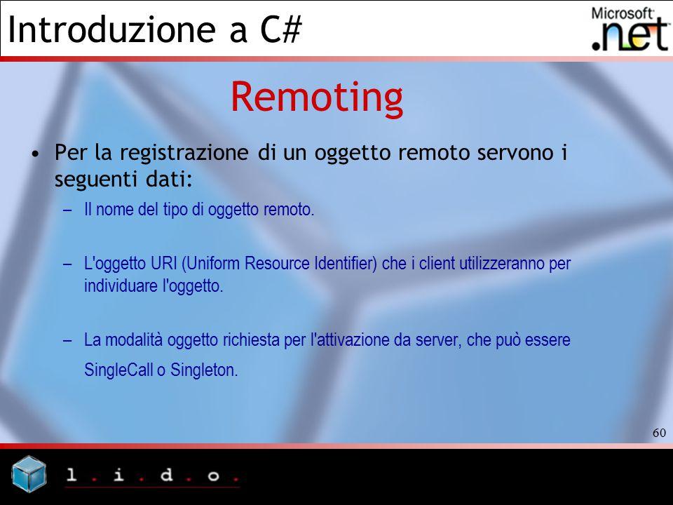 Remoting Per la registrazione di un oggetto remoto servono i seguenti dati: Il nome del tipo di oggetto remoto.