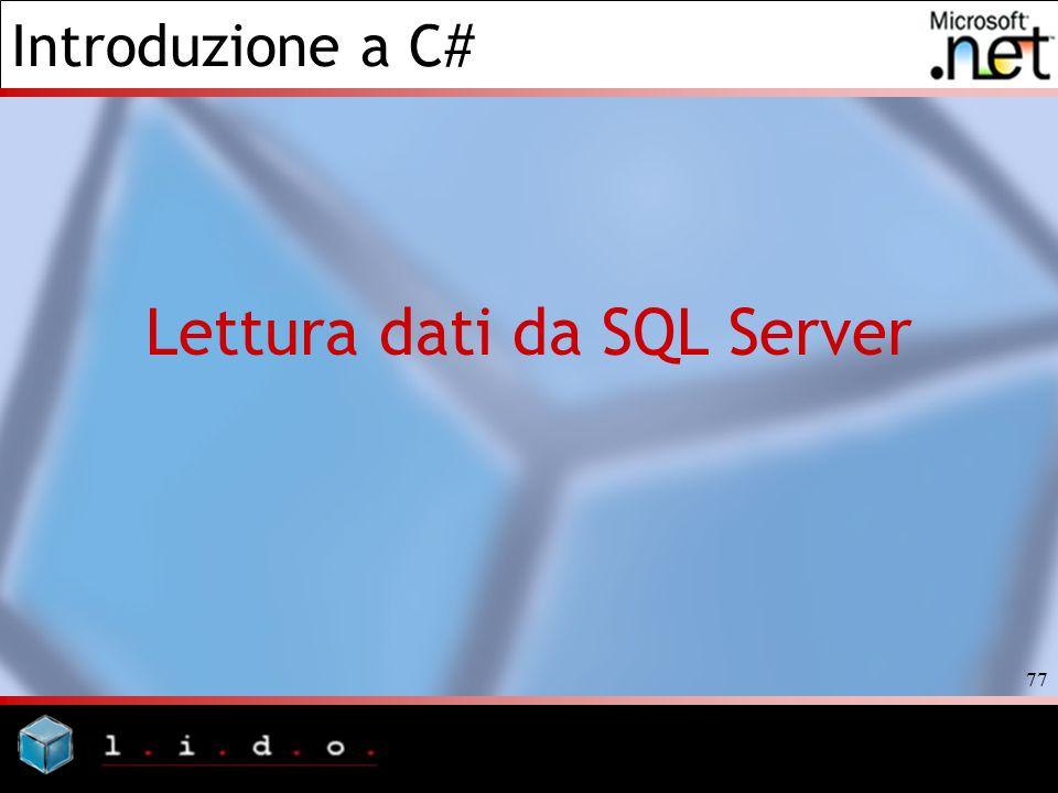 Lettura dati da SQL Server