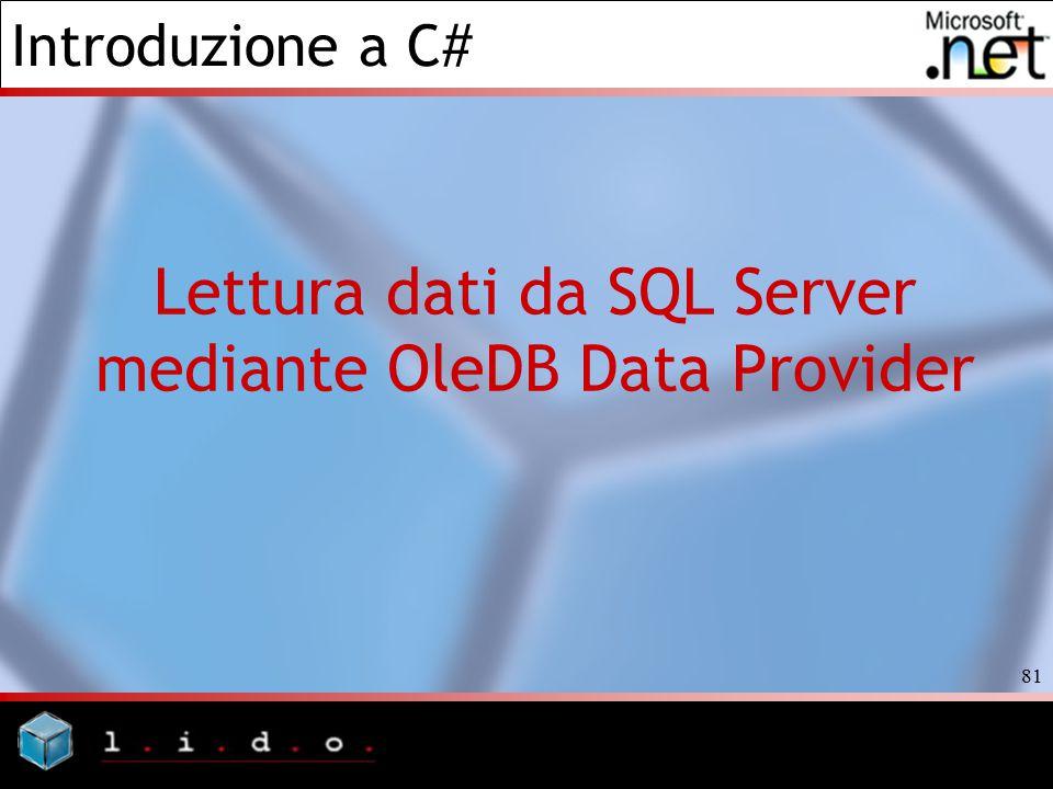 Lettura dati da SQL Server mediante OleDB Data Provider