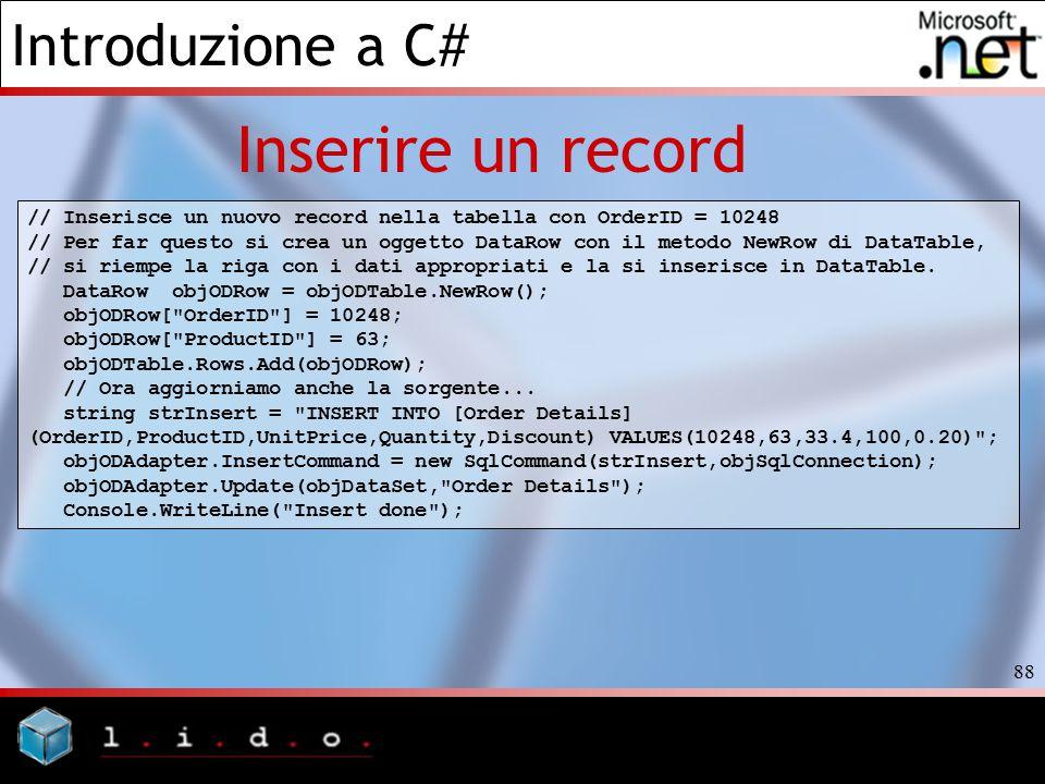 Inserire un record // Inserisce un nuovo record nella tabella con OrderID = 10248.