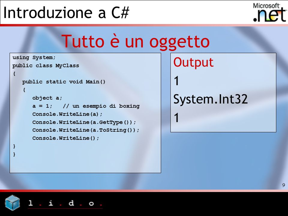 Tutto è un oggetto Output 1 System.Int32 using System;