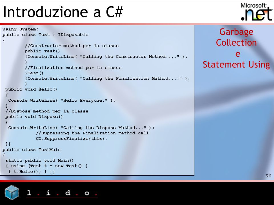 Garbage Collection e Statement Using