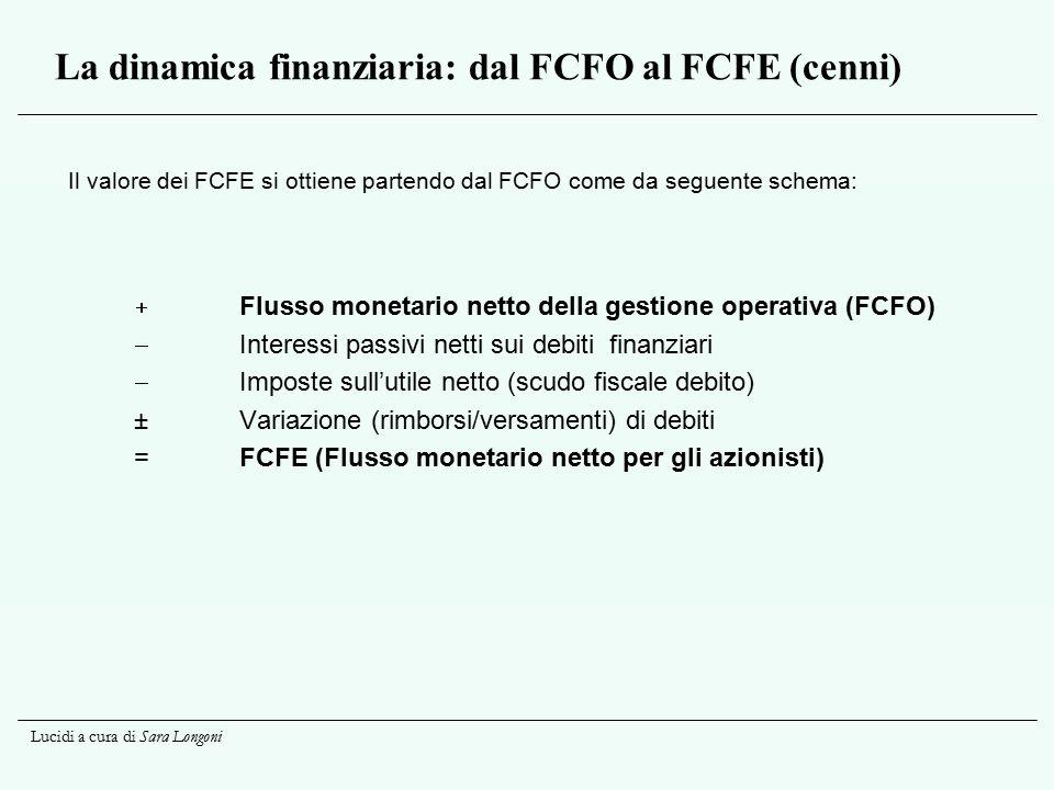 La dinamica finanziaria: dal FCFO al FCFE (cenni)