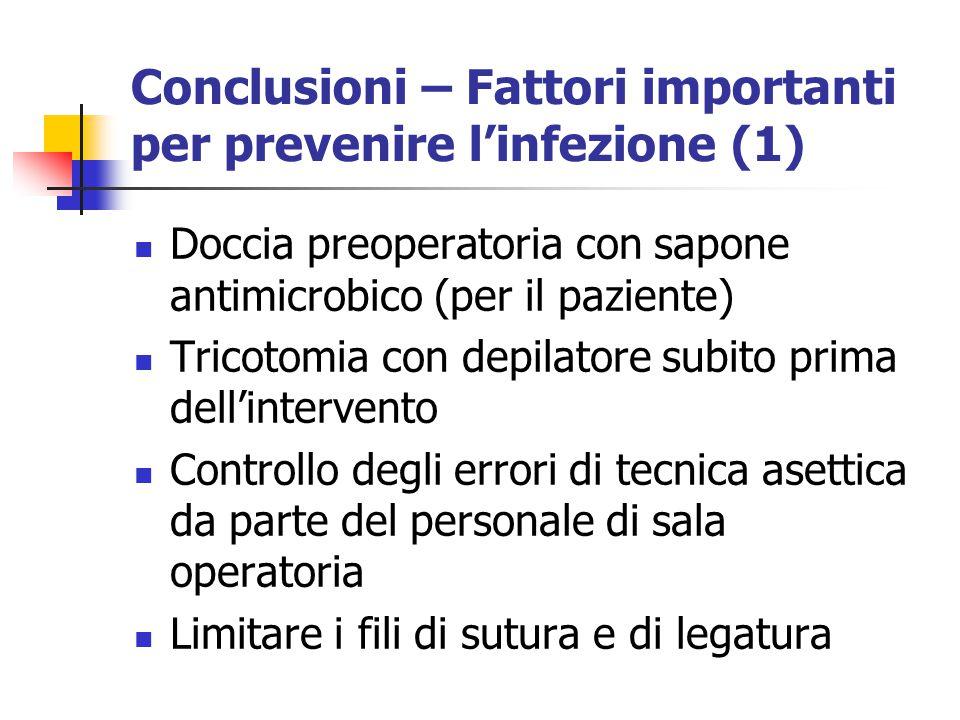 Conclusioni – Fattori importanti per prevenire l'infezione (1)