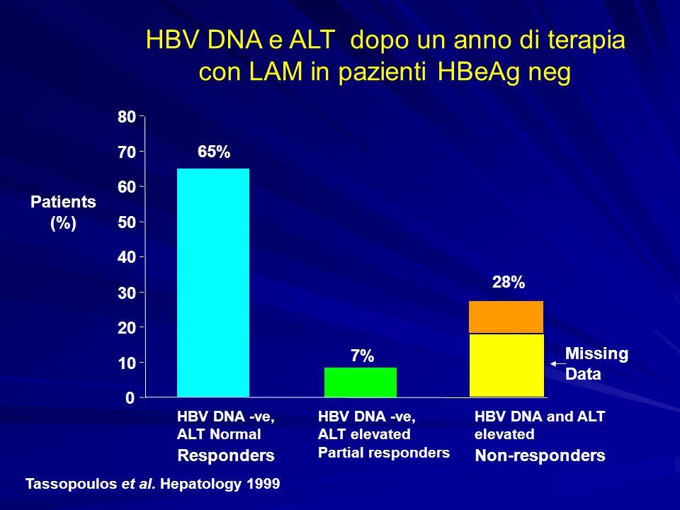 HBV DNA e ALT dopo un anno di terapia con LAM in pazienti HBeAg neg