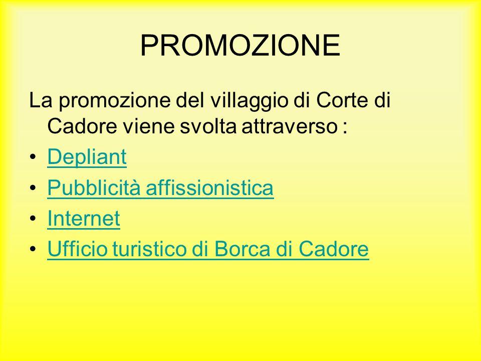 PROMOZIONE La promozione del villaggio di Corte di Cadore viene svolta attraverso : Depliant. Pubblicità affissionistica.