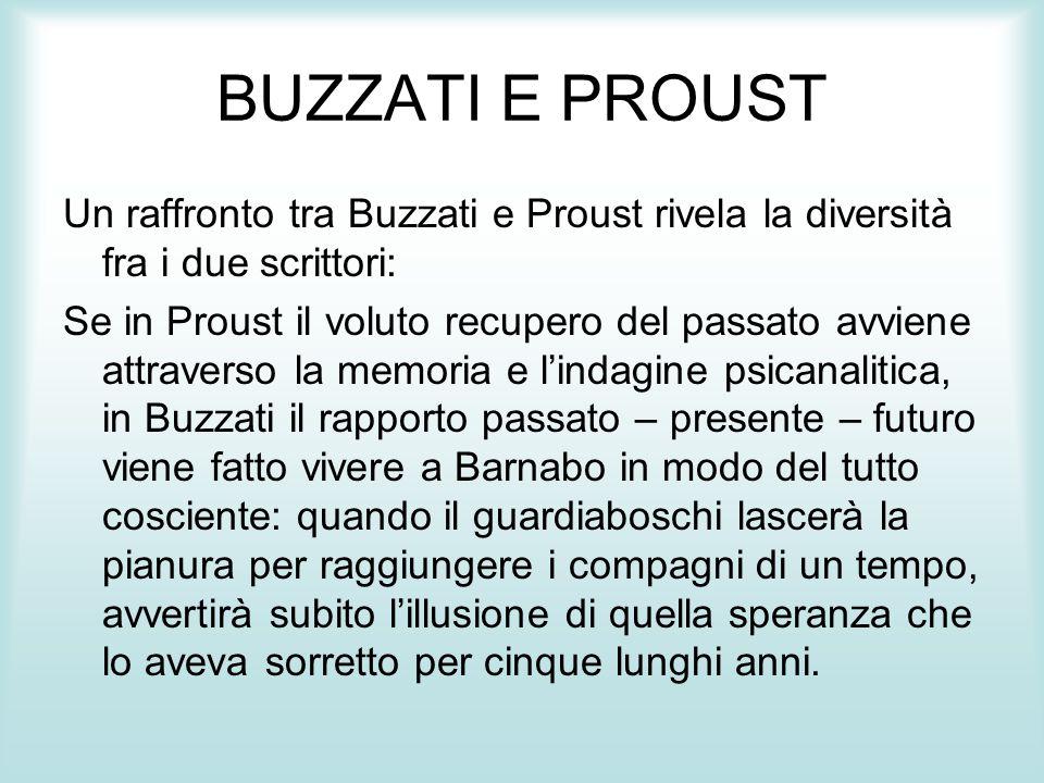 BUZZATI E PROUST Un raffronto tra Buzzati e Proust rivela la diversità fra i due scrittori: