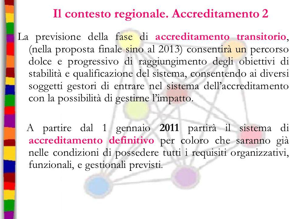 Il contesto regionale. Accreditamento 2