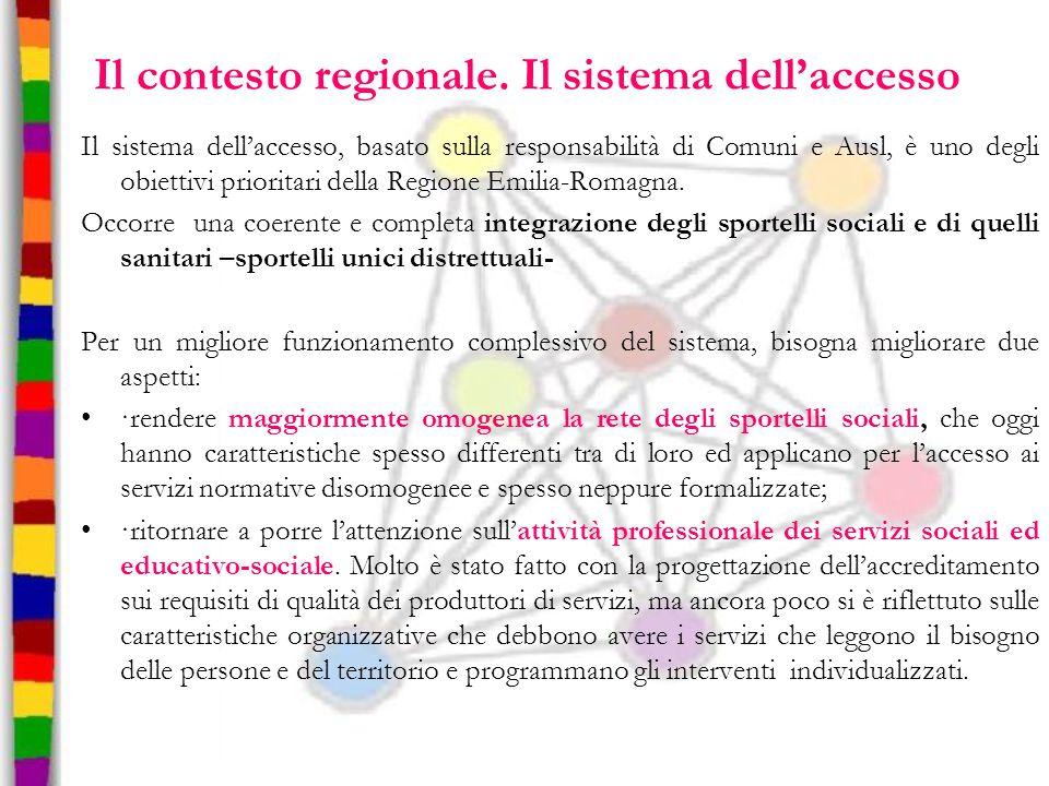 Il contesto regionale. Il sistema dell'accesso
