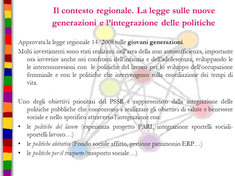 Il contesto regionale. La legge sulle nuove generazioni e l'integrazione delle politiche