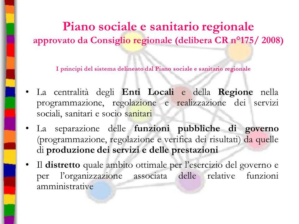 Piano sociale e sanitario regionale approvato da Consiglio regionale (delibera CR n°175/ 2008)