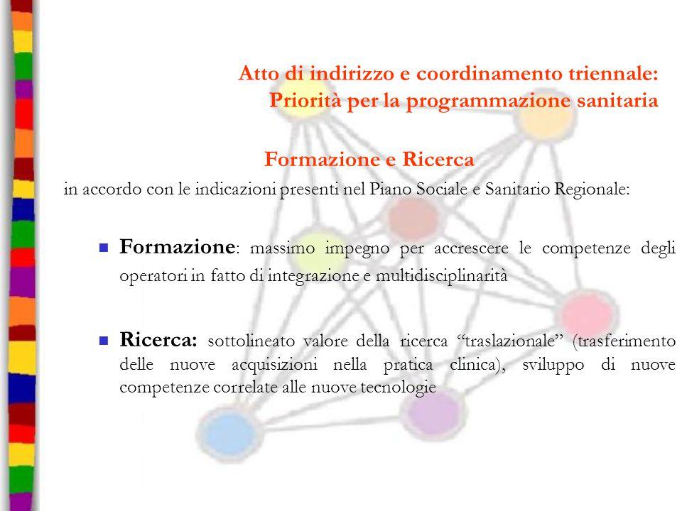 Atto di indirizzo e coordinamento triennale: Priorità per la programmazione sanitaria