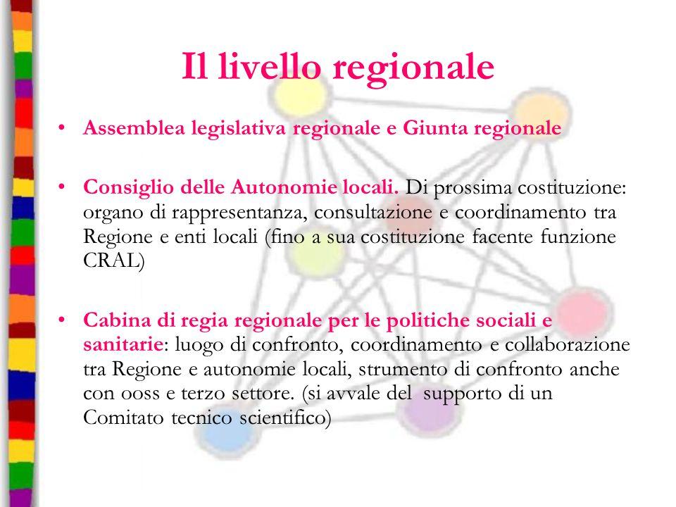Il livello regionale Assemblea legislativa regionale e Giunta regionale.