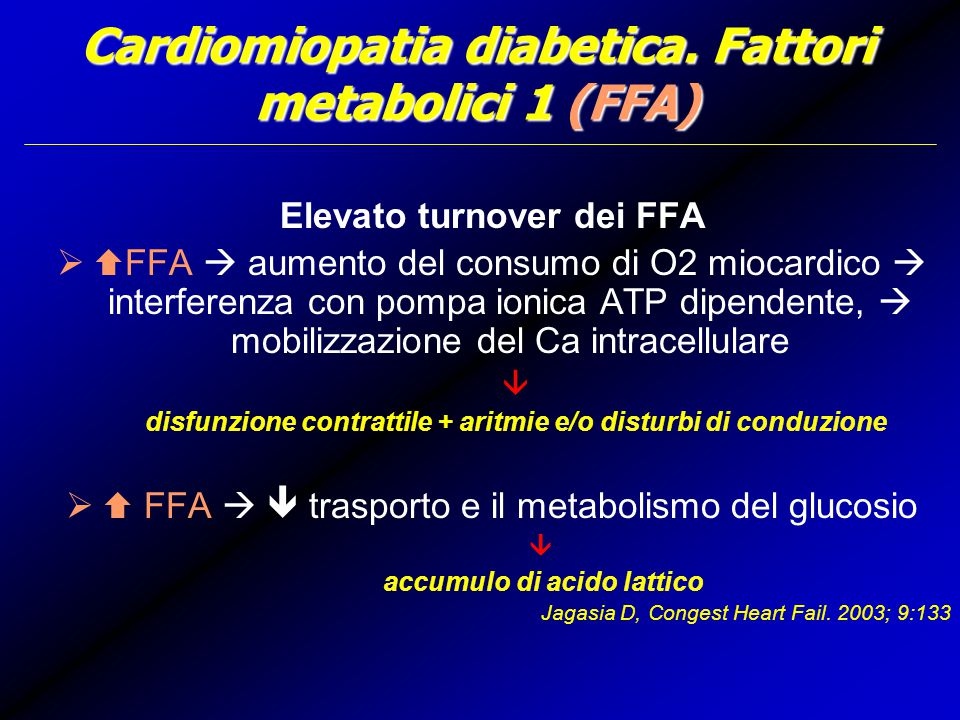 Cardiomiopatia diabetica. Fattori metabolici 1 (FFA)