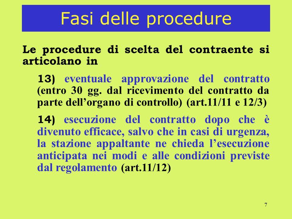 Fasi delle procedure Le procedure di scelta del contraente si articolano in.