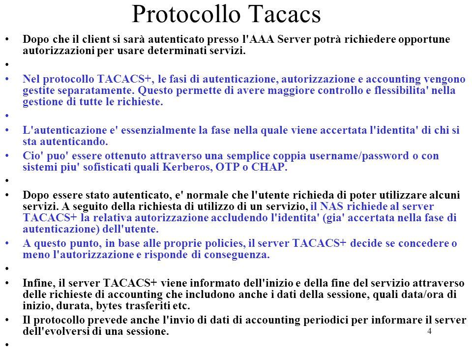 Protocollo Tacacs Dopo che il client si sarà autenticato presso l AAA Server potrà richiedere opportune autorizzazioni per usare determinati servizi.