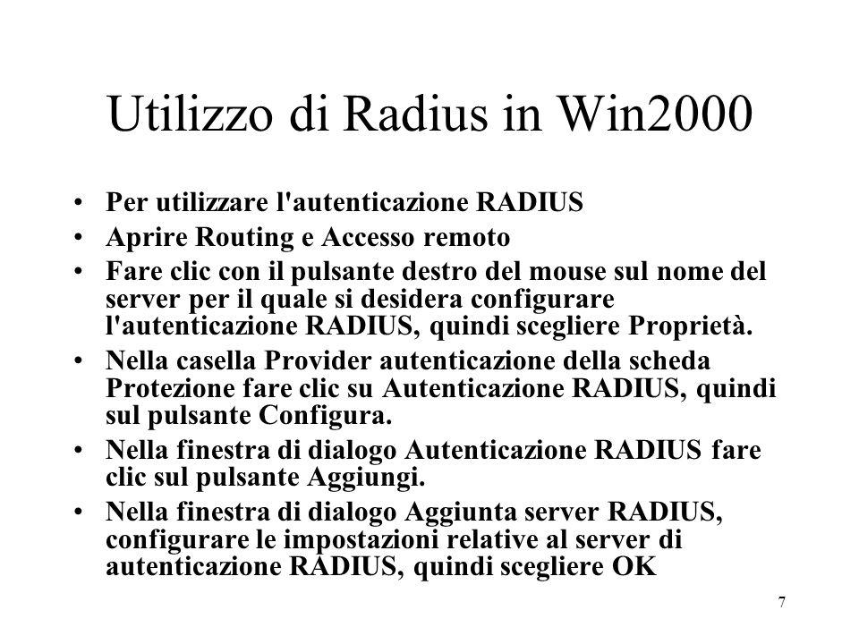 Utilizzo di Radius in Win2000