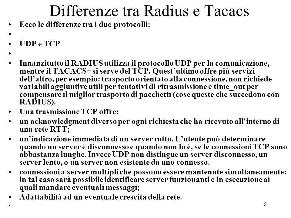 Differenze tra Radius e Tacacs