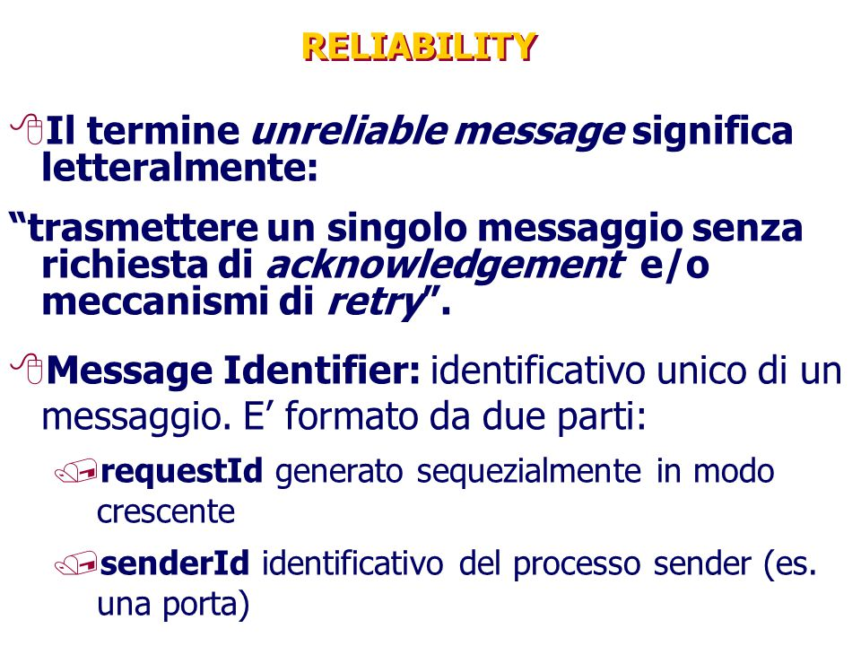 Il termine unreliable message significa letteralmente: