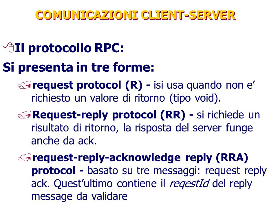 COMUNICAZIONI CLIENT-SERVER