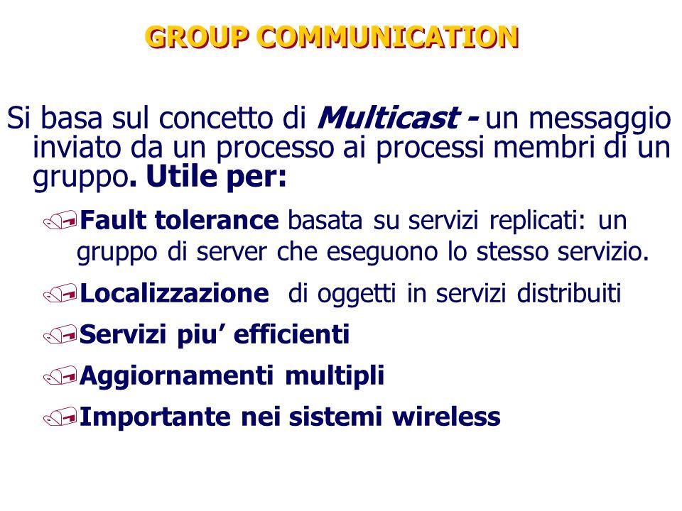 GROUP COMMUNICATION Si basa sul concetto di Multicast - un messaggio inviato da un processo ai processi membri di un gruppo. Utile per: