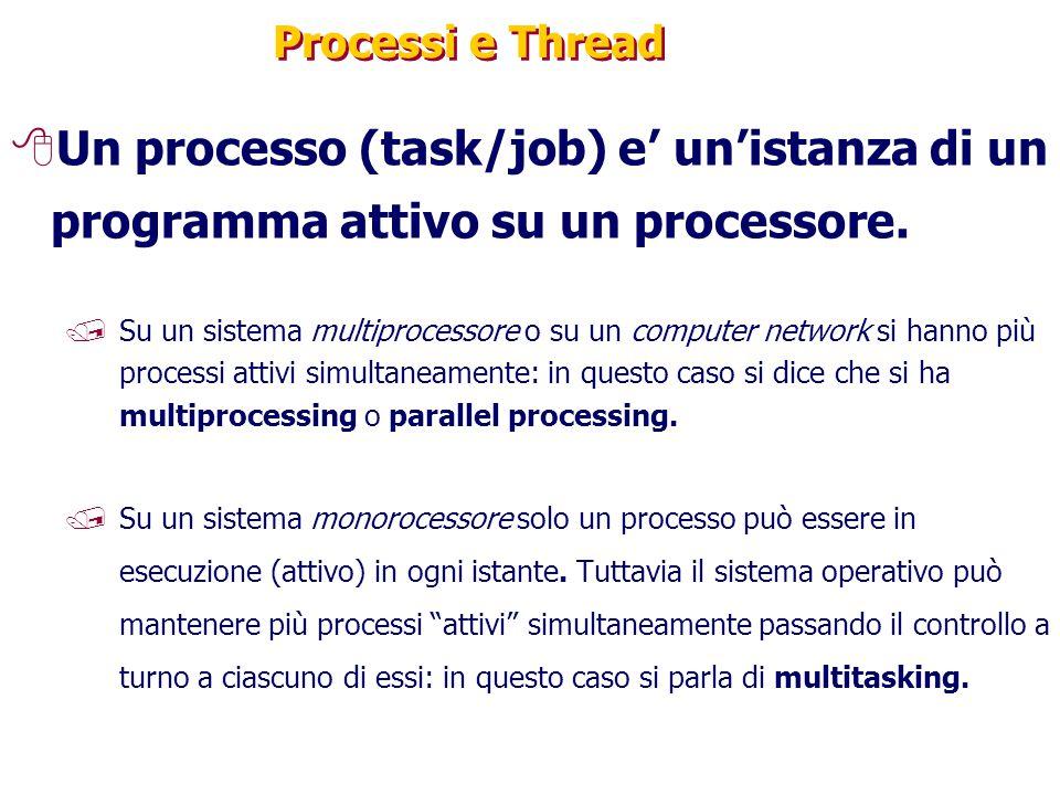 Processi e Thread Un processo (task/job) e' un'istanza di un programma attivo su un processore.