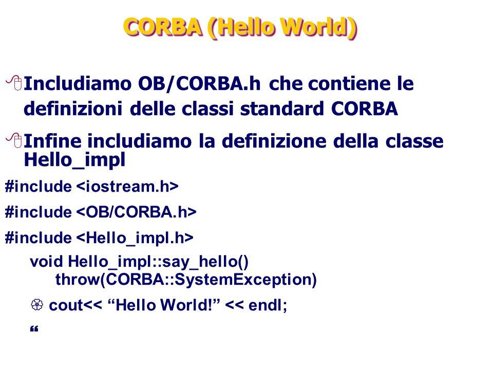 CORBA (Hello World) Includiamo OB/CORBA.h che contiene le definizioni delle classi standard CORBA.